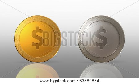 Dollar Currency 2 Coins