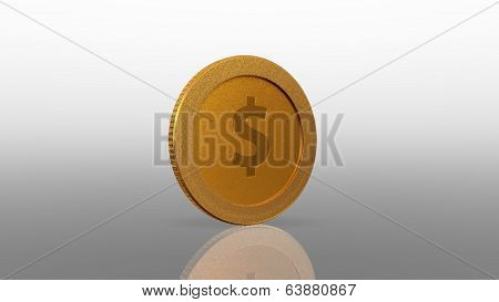 Dollar Currency Gold Coin White Exchange 45 Degree