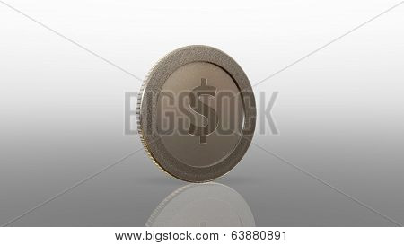 Dollar Currency Silve Coin 45 Degree