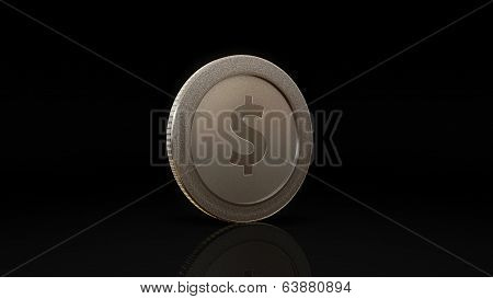 Dollar Currency Silve Coin Exchange Dark 45 Degree