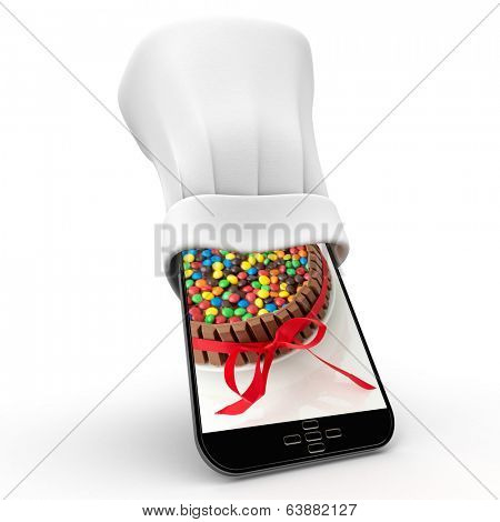 Tablet wearing a chefs toque with the picture of a colorful cake