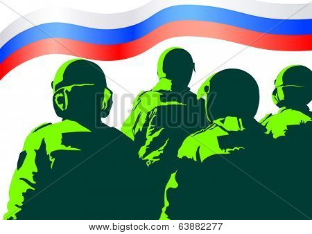 Russian special police force and flag