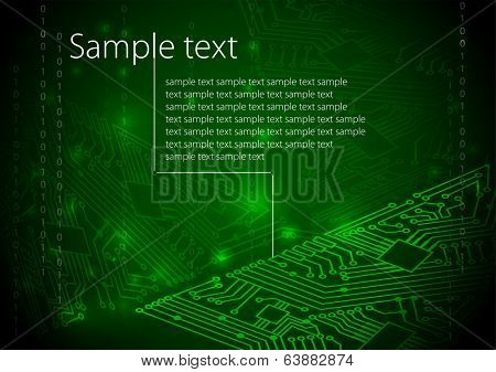 Green circuit board background of computer motherboard