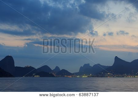 Mountains Of Rio De Janeiro Night View From Niteroi