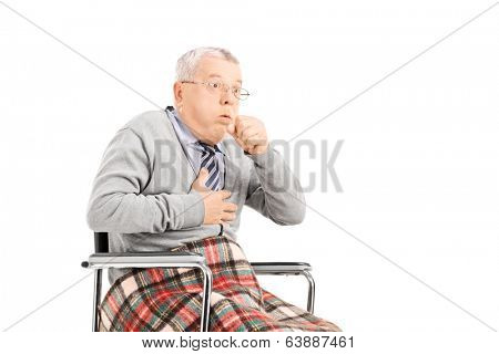 Senior man in wheelchair choking isolated on white background