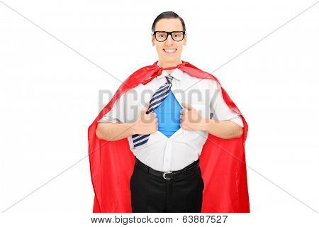 Male superhero tearing his shirt isolated on white background