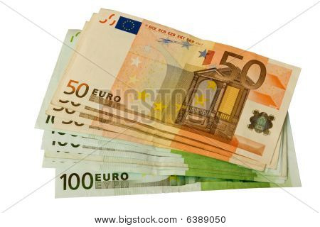 50 And 100 Euro Bills Stacked