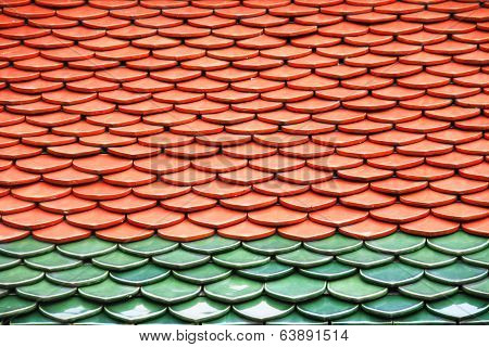 Roof texture in Wat Phra Keaw, Thailand