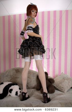 Attractive Girl Dressed Like Gothic Lolita