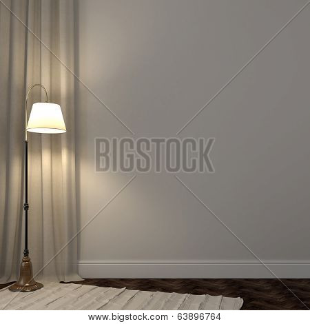Luminous Floor Lamp In The Interior