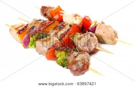 Pork kebab isolated on white