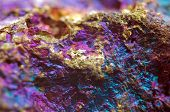 pic of iron pyrite  - Nugget gold bronze copper iron. Macro. Extreme closeup