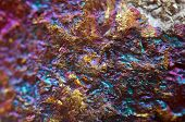 foto of iron pyrite  - Nugget gold bronze copper iron. Macro. Extreme closeup