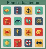 stock photo of long-fish  - Set of beach and seaside flat icons with long shadows - JPG