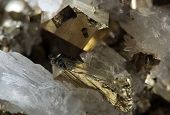 stock photo of pyrite  - Pyrite or iron pyrite is an iron sulfide - JPG