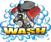 picture of decontamination  - sign of the washer of the car engines - JPG