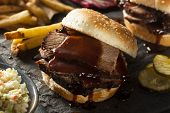 foto of brisket  - Smoked Barbecue Brisket Sandwich with Coleslaw and Bake Beans - JPG