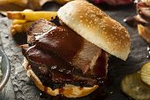 image of brisket  - Smoked Barbecue Brisket Sandwich with Coleslaw and Bake Beans - JPG