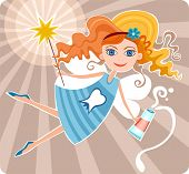 stock photo of tooth-fairy  - vector illustration of a cute fairy princess - JPG