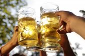 pic of bing  - Cheers together in a bavarian beer garden