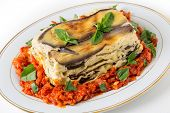 stock photo of zucchini  - Vegetable lasagne - JPG