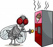 foto of poo  - Cartoon Illustration of Funny Fly and Vending Machine with Poo Snack - JPG