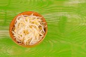 pic of soybean sprouts  - A bowl full with fresh organic soy sprouts - JPG