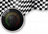 stock photo of speedometer  - Illustration of Speedometer and Checkered Flag Background - JPG