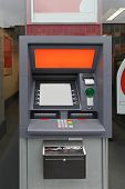 foto of automatic teller machine  - Automated teller machine cash point in glass wall - JPG