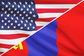 foto of mongolian  - USA and Mongolian flag - JPG