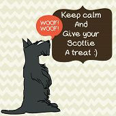 image of begging  - Cute card template with sketch of a sweet sitting Scottish terrier and figure frames for the text on doodle chevron background - JPG
