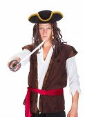 picture of pirate sword  - Portrait Of A Young Pirate Holding Sword On White Background - JPG