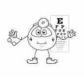 image of snellen chart  - sketch of the ophthalmologist with glasses and snellen chart - JPG