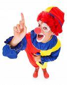 stock photo of joker  - High Angle View Of A Joker Raising Finger Over White Background - JPG