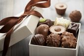 picture of truffle  - assorted chocolates confectionery in their gift box - JPG