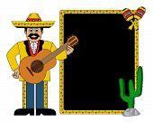 Photo of hispanic man wearing a hat and with a guitar, maracas, cactus and frame for text.