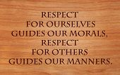 stock photo of respect  - Respect for ourselves guides our morals - JPG