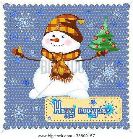 Merry Christmas Snowman With Christmas Tree