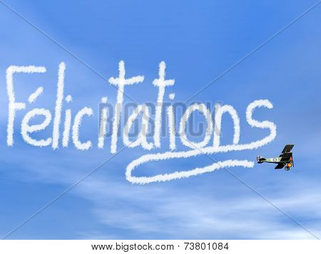 French congratulations message from biplan smoke - 3D render