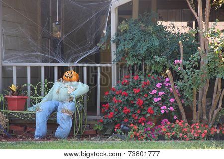 Scarecrow decorations for upcoming Halloween