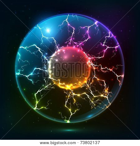 Rainbow fire vector plasma ball