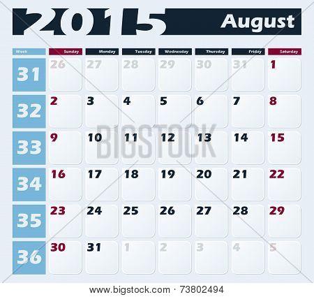 Calendar 2015 August vector design template