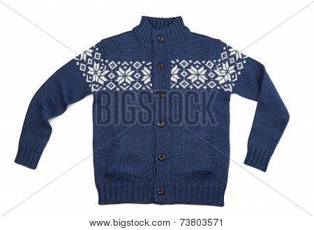 Blue Knitted Sweater With Pattern