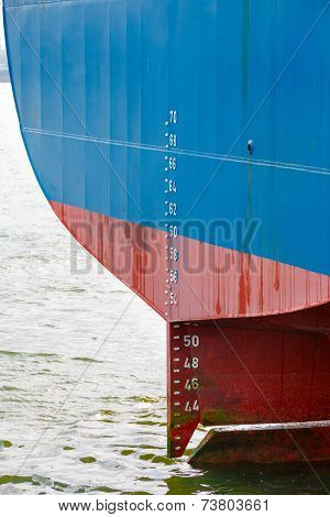Stern Of Large Ship With Draft Scale