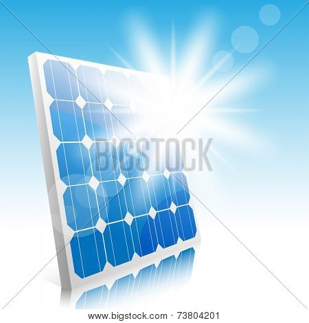 Sun and solar panels. Illustration. Vector.