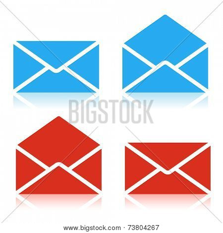 Envelope red and blue Icon Isolated on white background. Set. Illustration Vector.