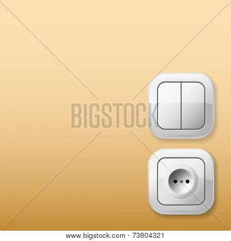 White Electric Switch and Socket on the wall. Vector Illustration.
