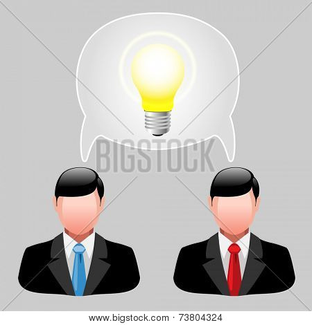 Icon ideas. Business men with thoughts. illustration, vector.