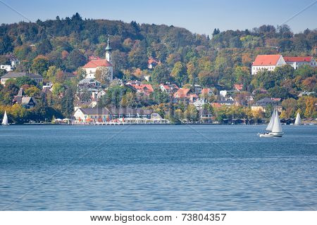 An image of Starnberg at autumn view from the lake