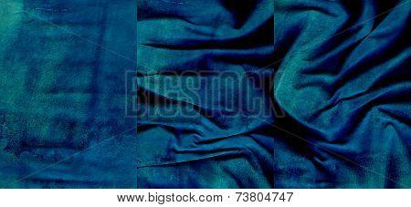 Set Of Aquamarine Suede Leather Textures